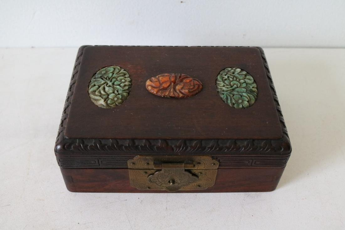Antique Asian Wood Hand Carved Box with Carved Jade
