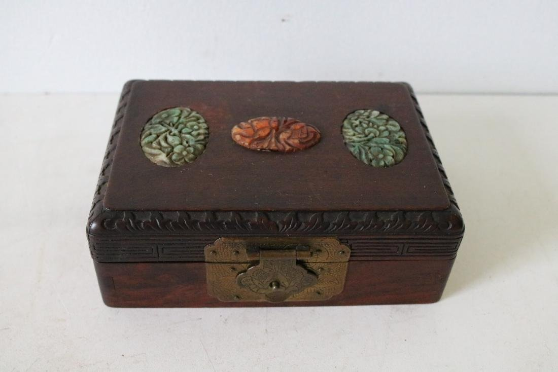Antique Asian Wood Hand Carved Box with Carved Jade - 2