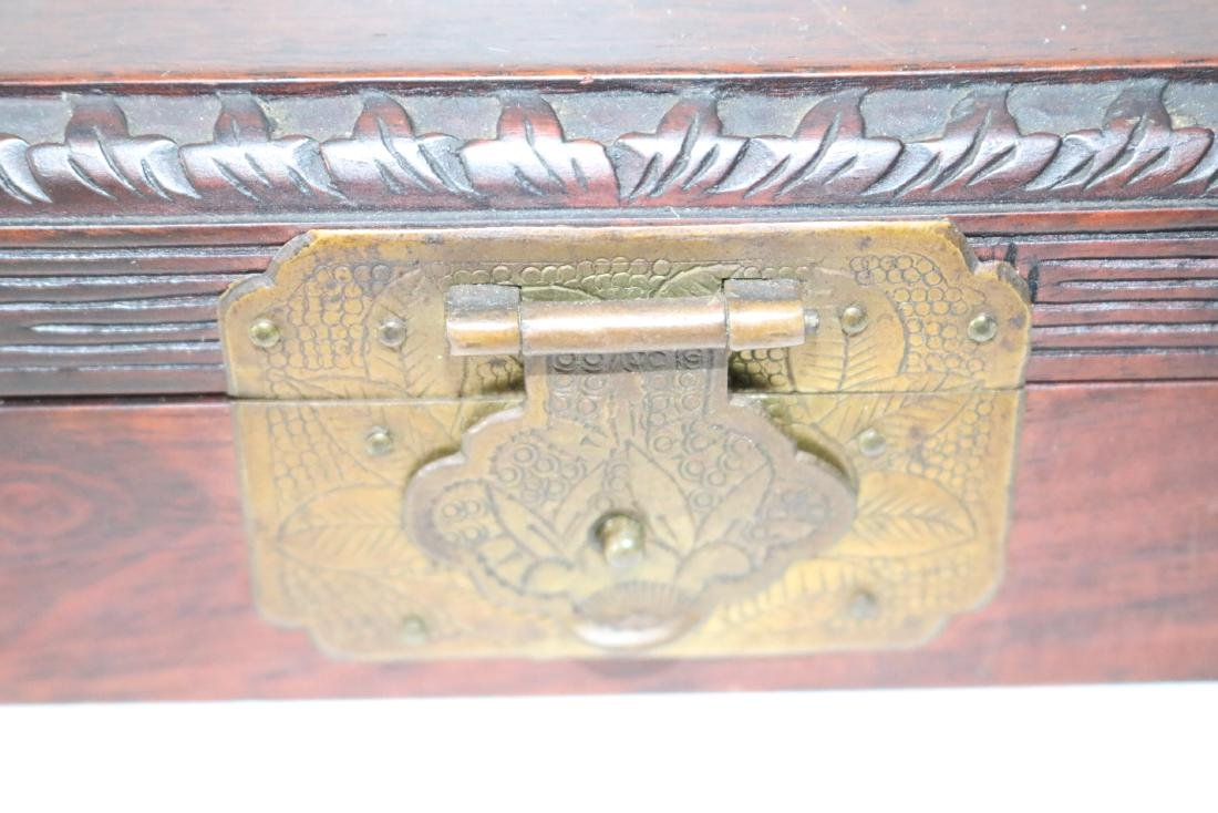 Antique Asian Wood Hand Carved Box with Carved Jade - 3
