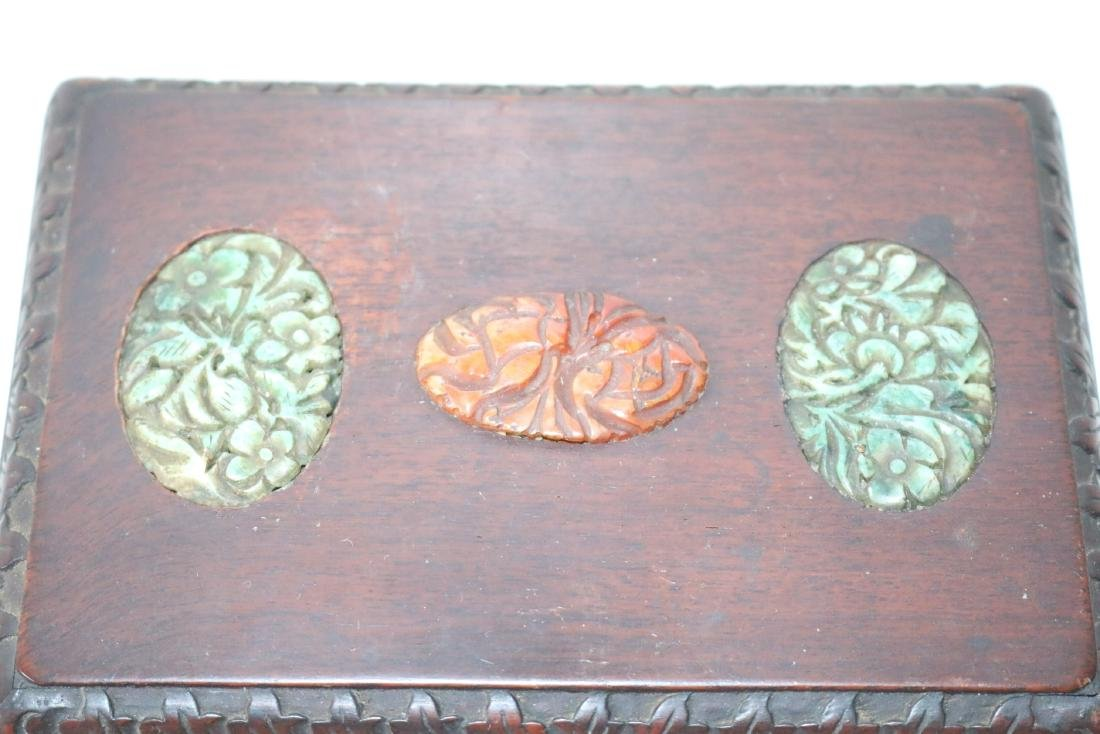 Antique Asian Wood Hand Carved Box with Carved Jade - 4