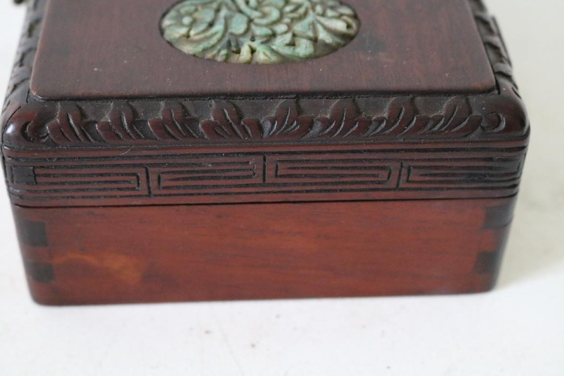 Antique Asian Wood Hand Carved Box with Carved Jade - 6