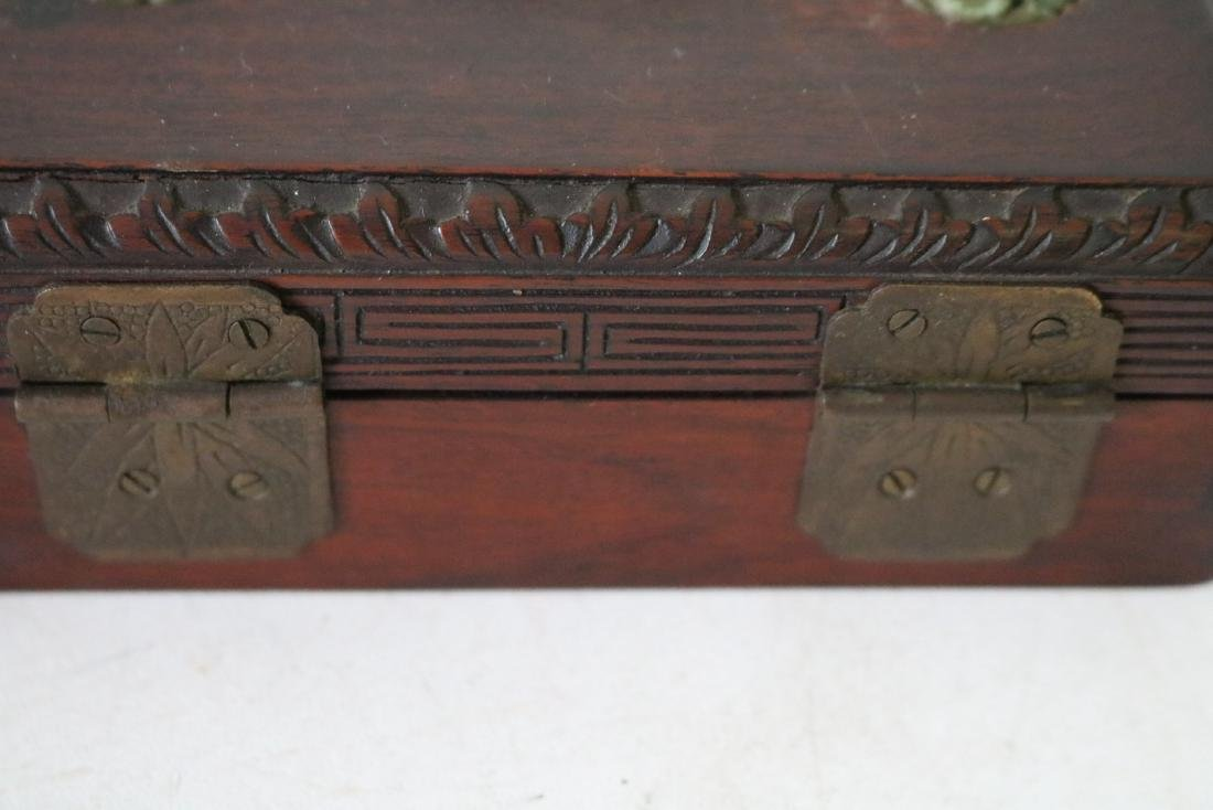 Antique Asian Wood Hand Carved Box with Carved Jade - 7