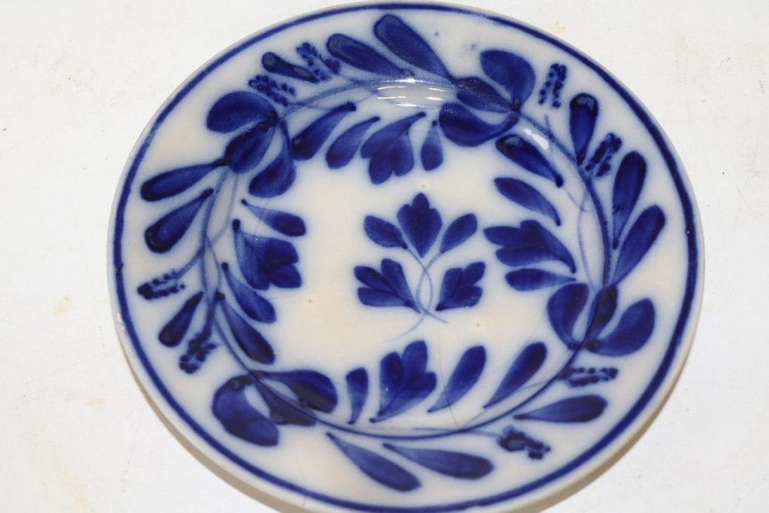 7 1/4 inch Flow Blue Plate Marked AV & LGF