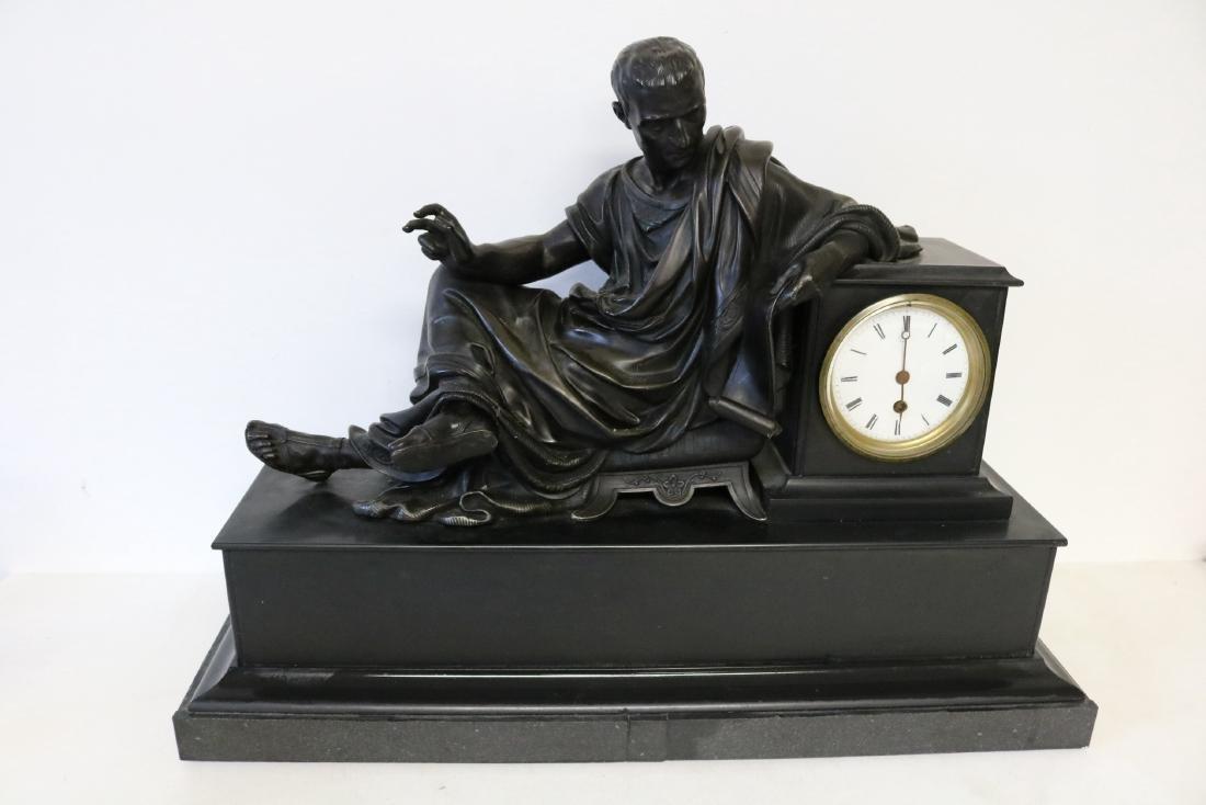 Lg Slate Mantel Clock w/ Bronzed Figure, Japy Freres &