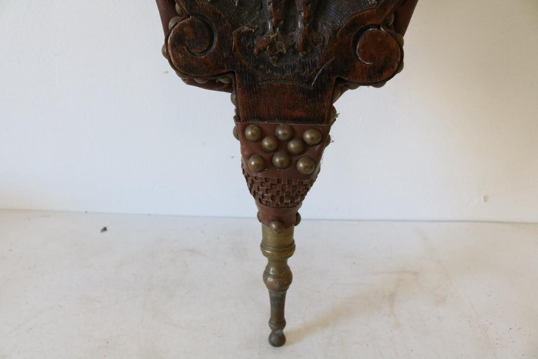 Antique Oak Hand Carved Bellows with Eagle - 3