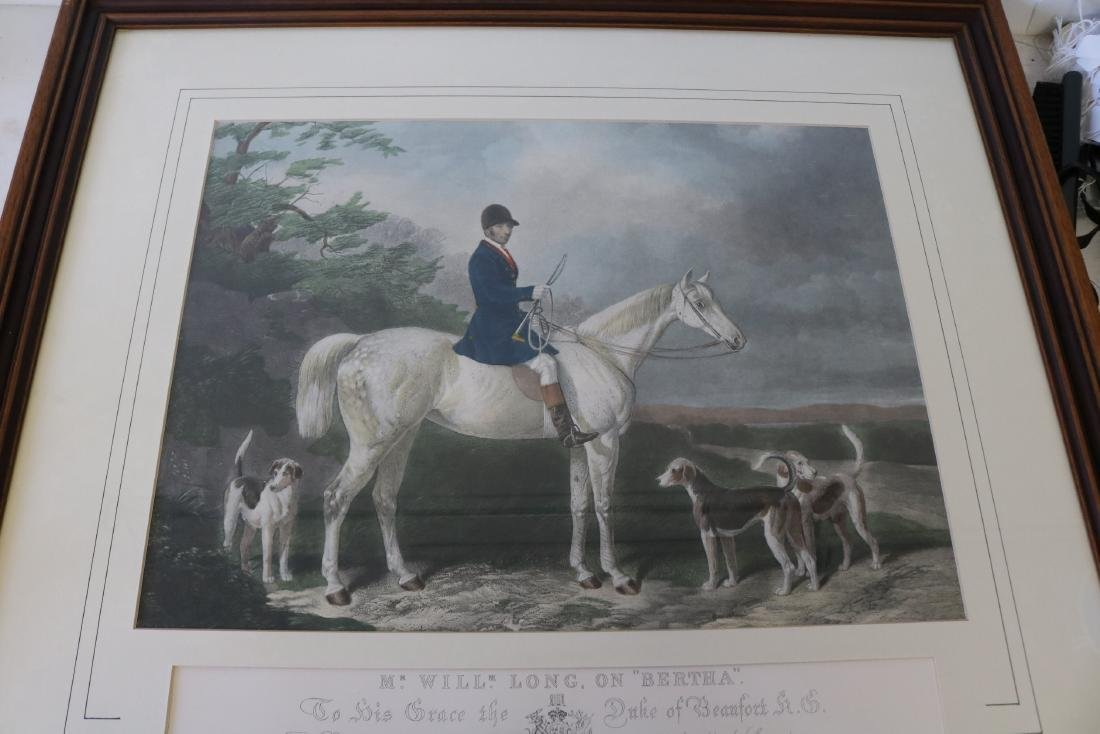 Mr. Will Long on Bertha, Hunt Scene Engraving by