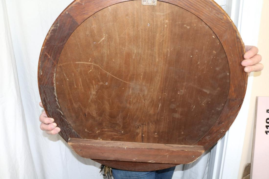 "Huge 26"" Antique Seth Thomas Thirty Day Round Oak Case - 10"