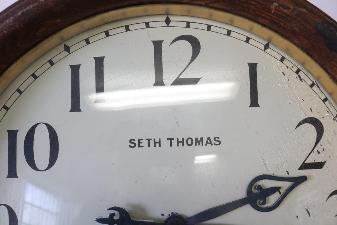 "Huge 26"" Antique Seth Thomas Thirty Day Round Oak Case - 2"