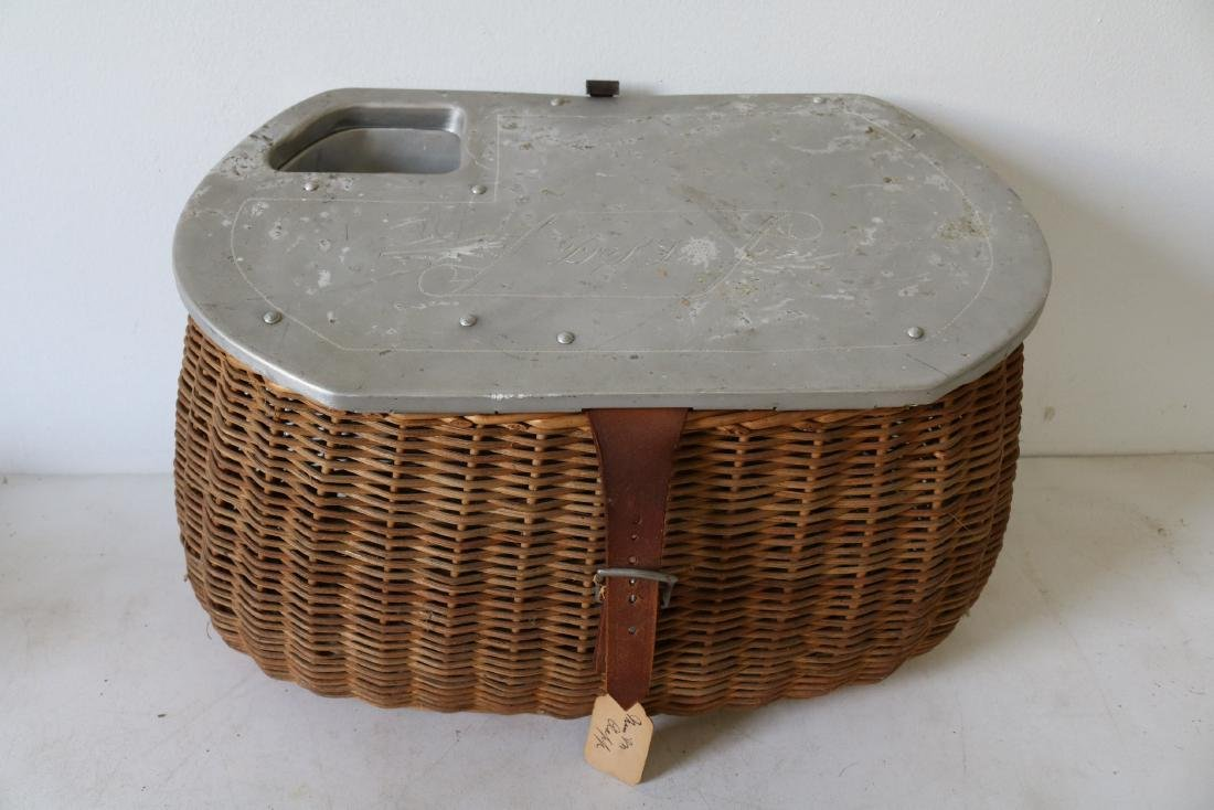 Antique Fishing Creel with etched aluminum Top by