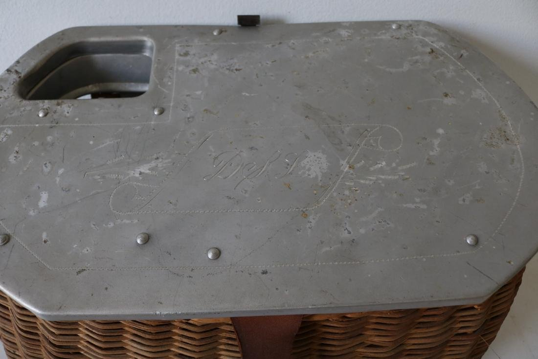 Antique Fishing Creel with etched aluminum Top by - 2