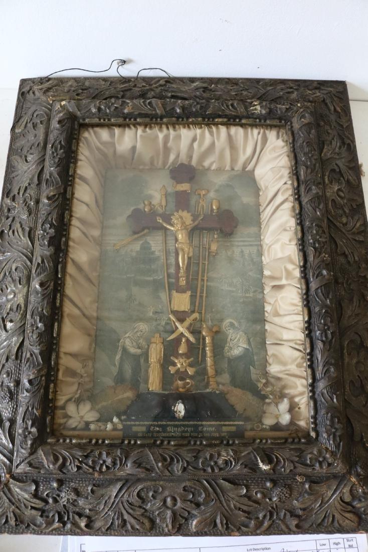 1877 The Kingdom Come Antique Religious Shadow Box