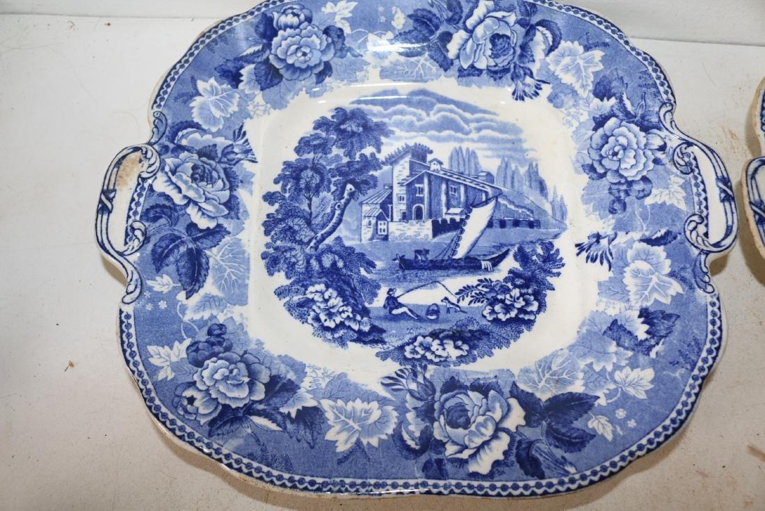 Pair Wedgewood Flow Blue Landscape Double Handle Plates - 2