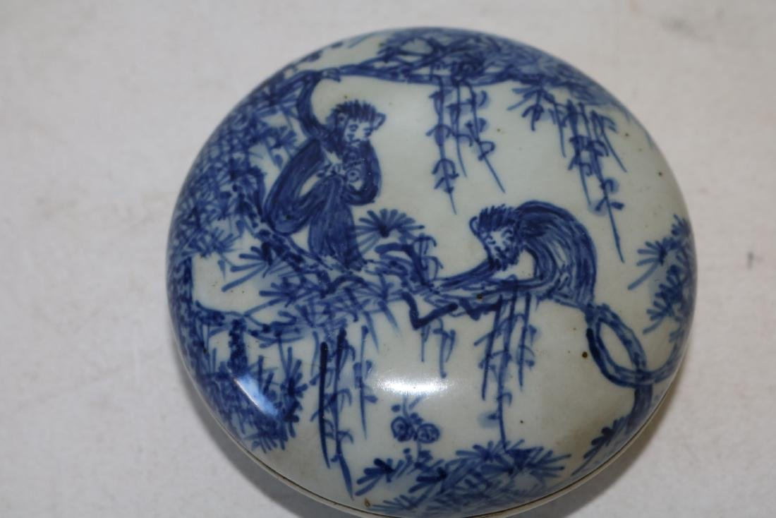 Asian Blue & White round Covered Box with Monkeys