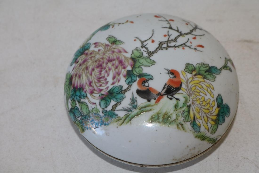 Asian Covered Hand Painted Round Covered Box