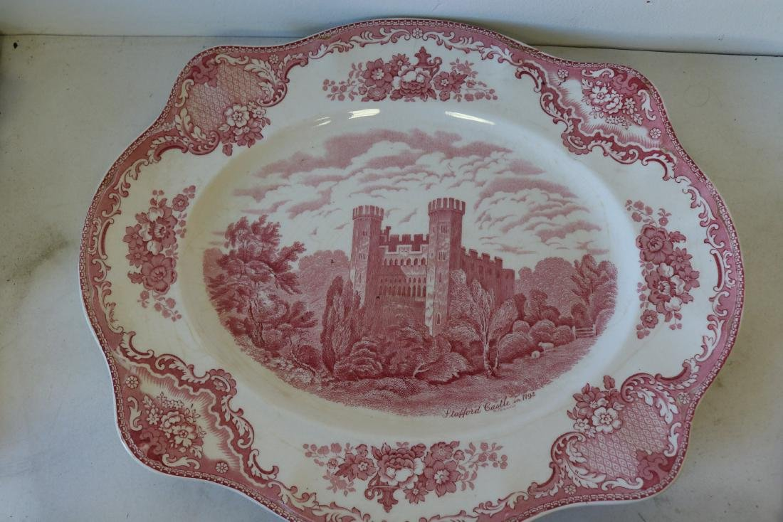 Red Transferware Stafford Castle 1792, Johnson Bros.