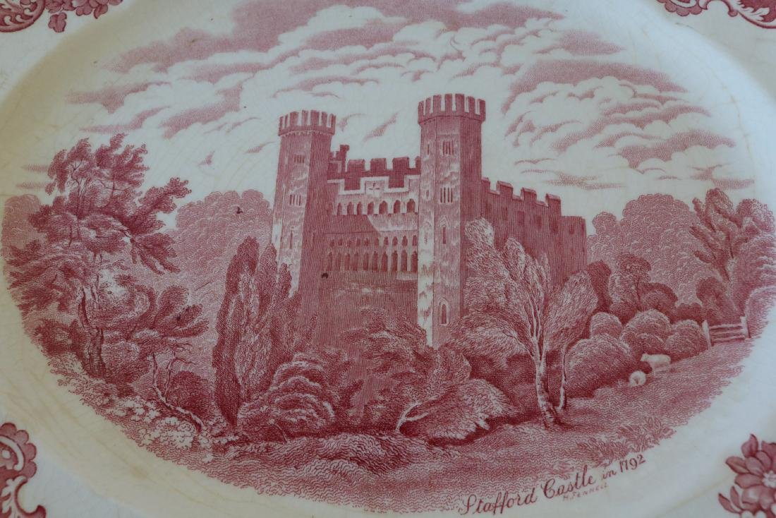 Red Transferware Stafford Castle 1792, Johnson Bros. - 2