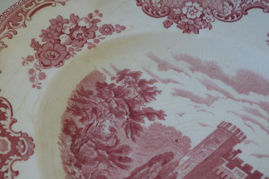 Red Transferware Stafford Castle 1792, Johnson Bros. - 3