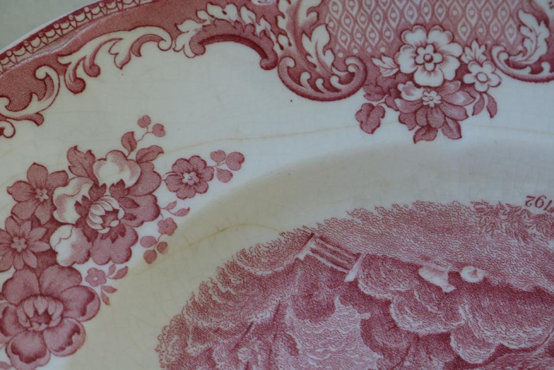 Red Transferware Stafford Castle 1792, Johnson Bros. - 7