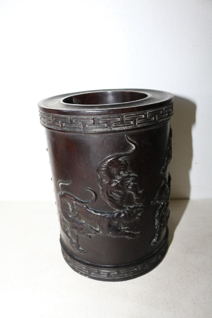 Asian Carved Wood Brush Pot