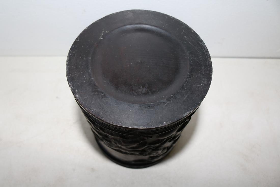Asian Carved Wood Brush Pot - 5