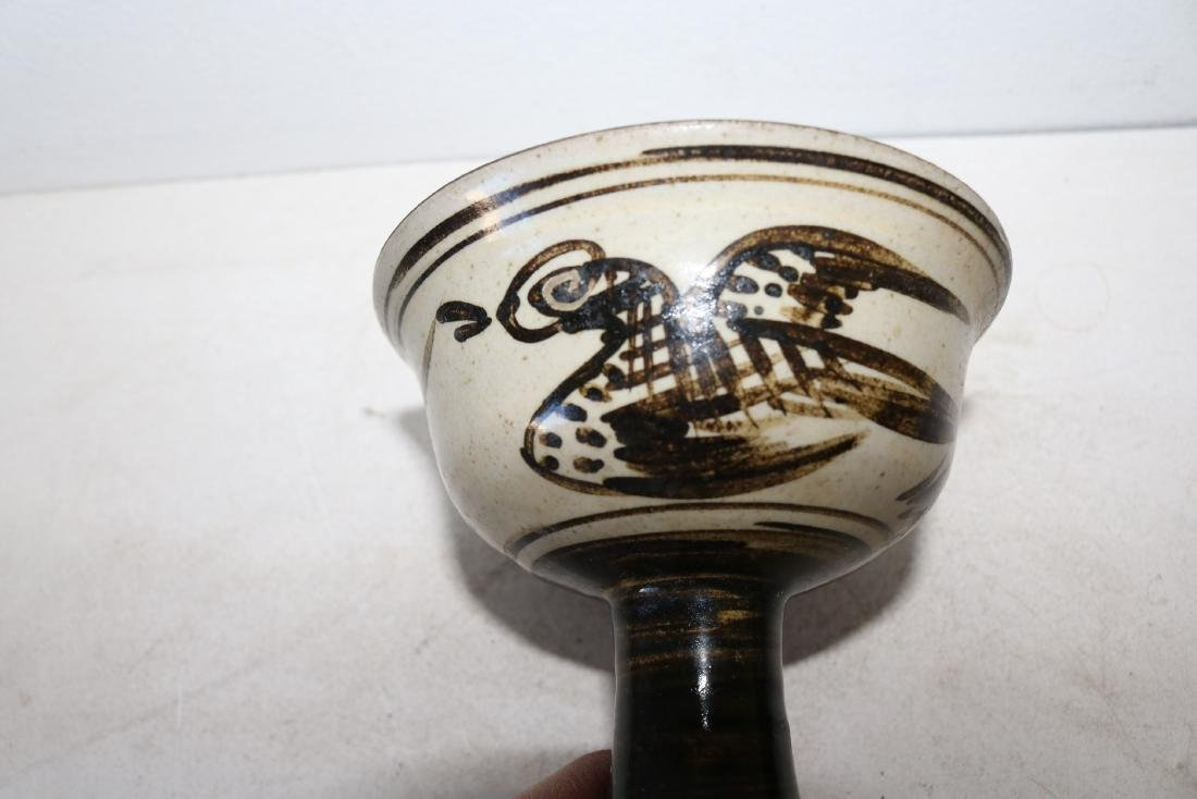 Asian Brown Porcelain footed cup with Hand Painted Bird - 4