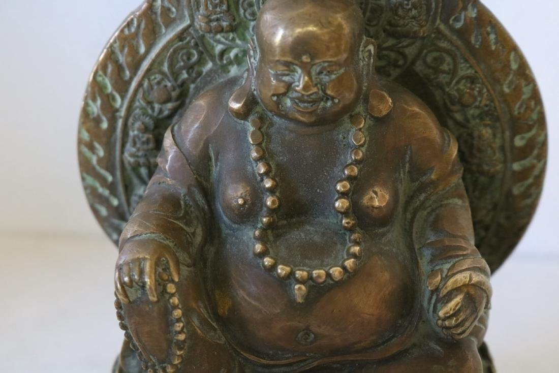 Asian Carved Brass Smiling Buddha - 2