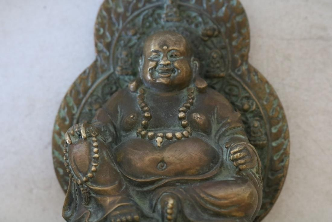 Asian Carved Brass Smiling Buddha - 5