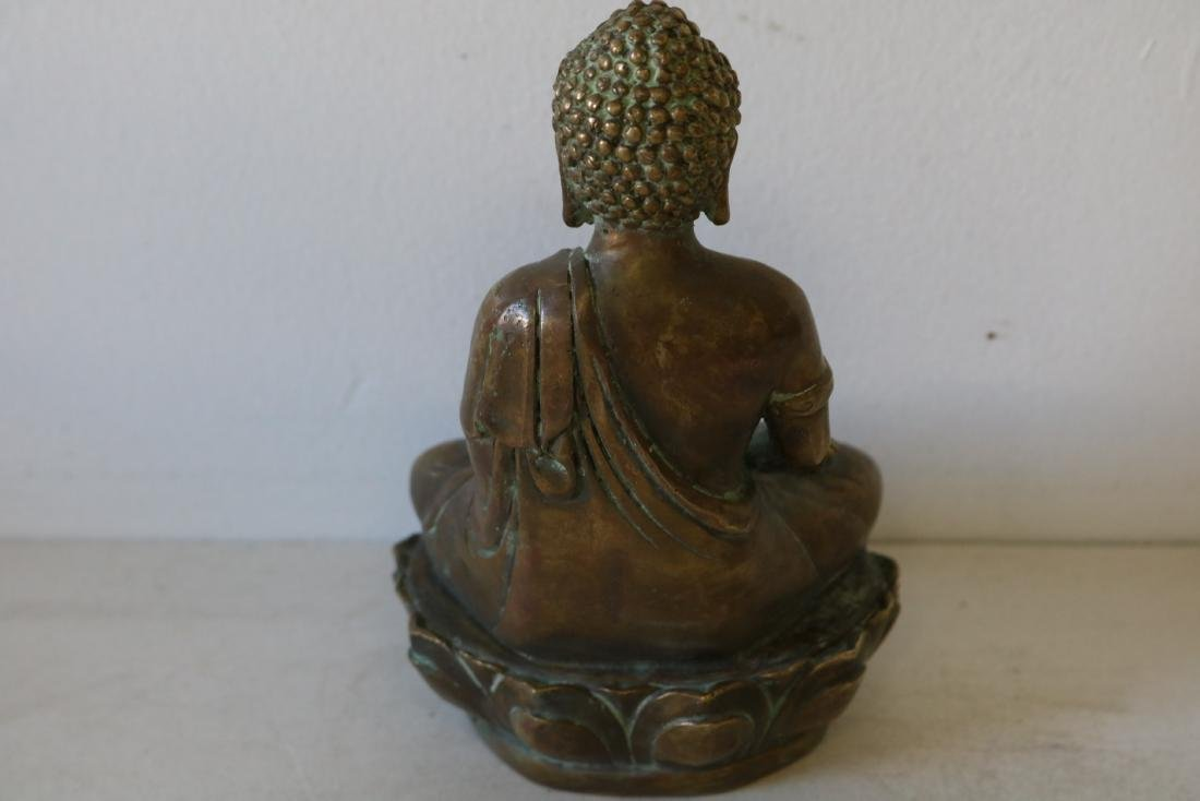 Asian Carved Brass Buddha - 4
