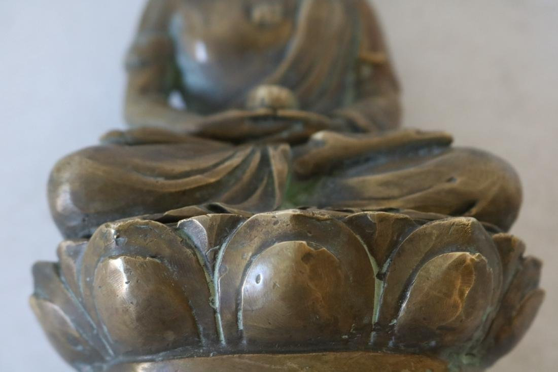 Asian Carved Brass Buddha - 5