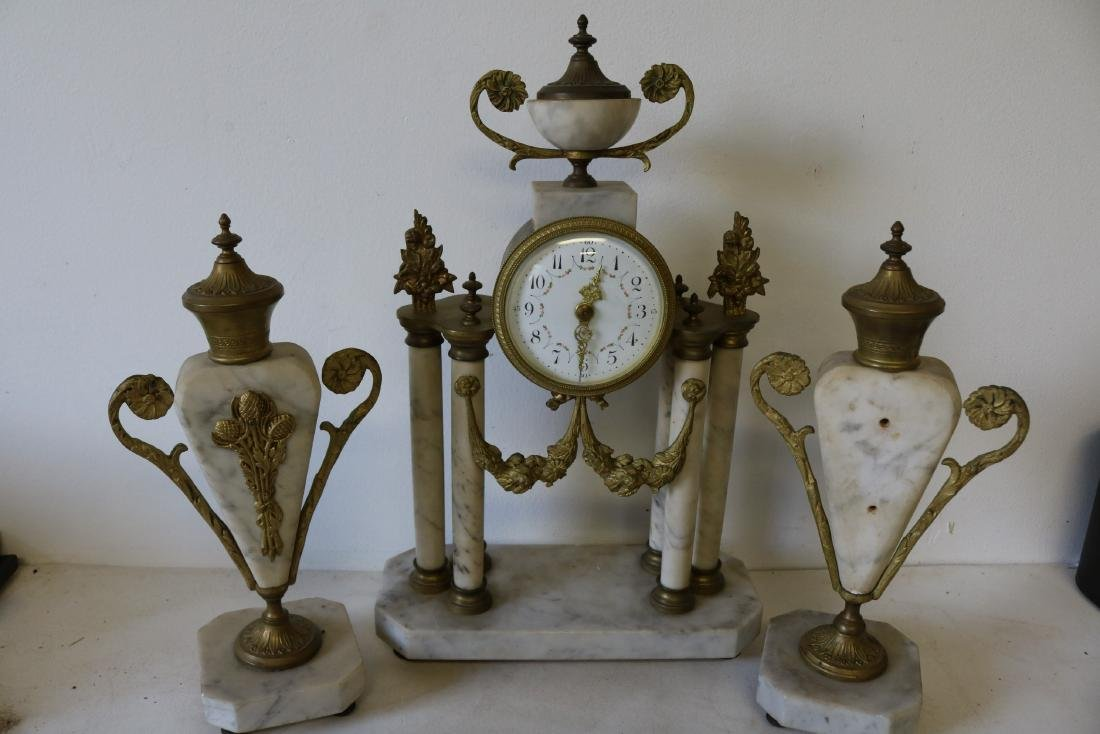 French Marble 3 piece Mantel Clock Set