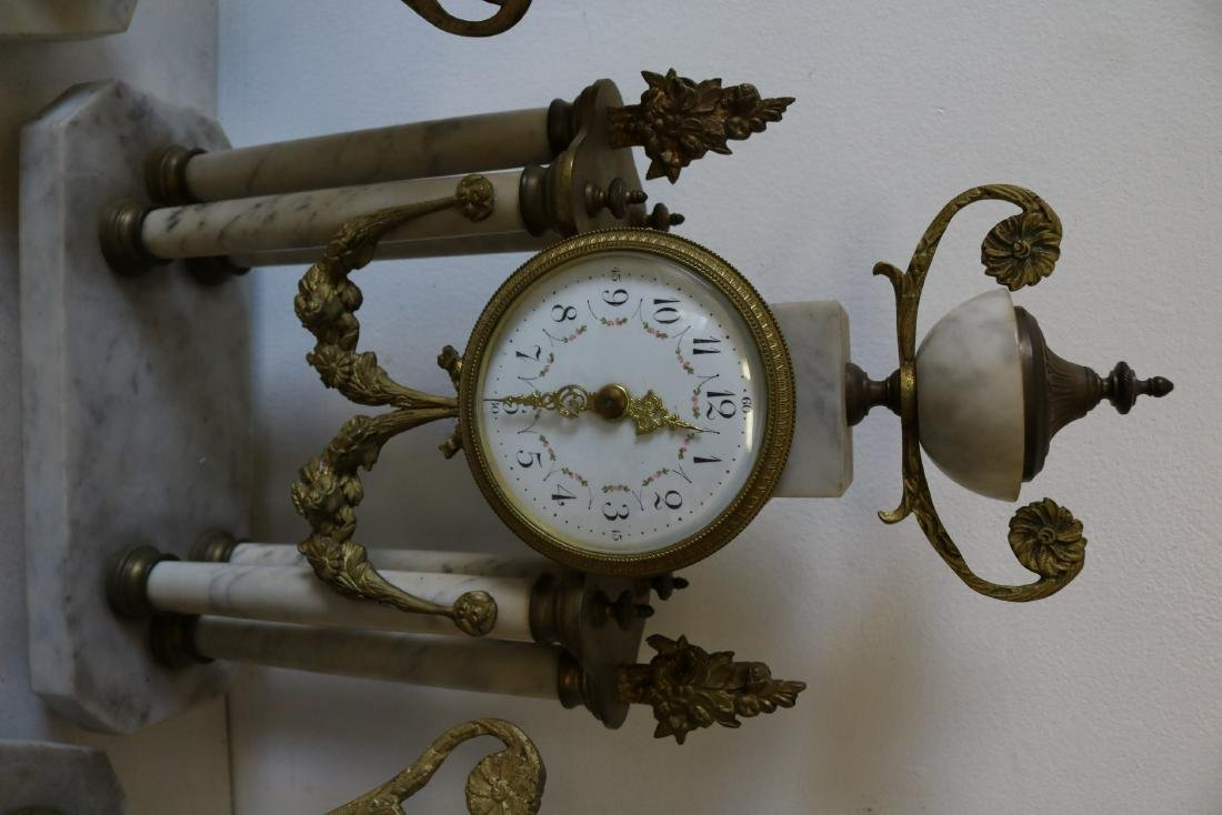 French Marble 3 piece Mantel Clock Set - 4