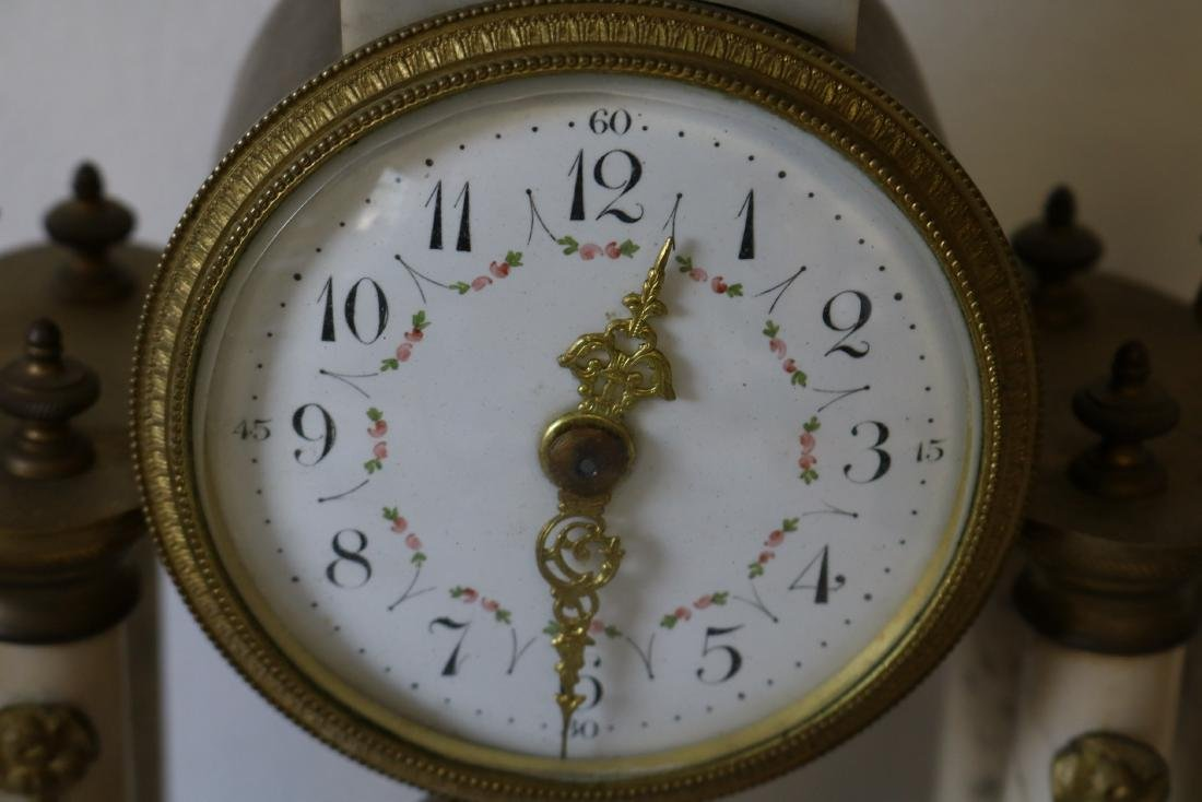 French Marble 3 piece Mantel Clock Set - 5