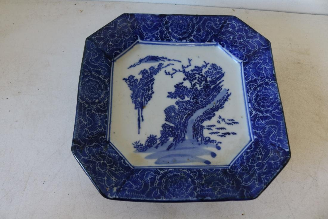 Asian Blue & White Porcelain Octagon Plate