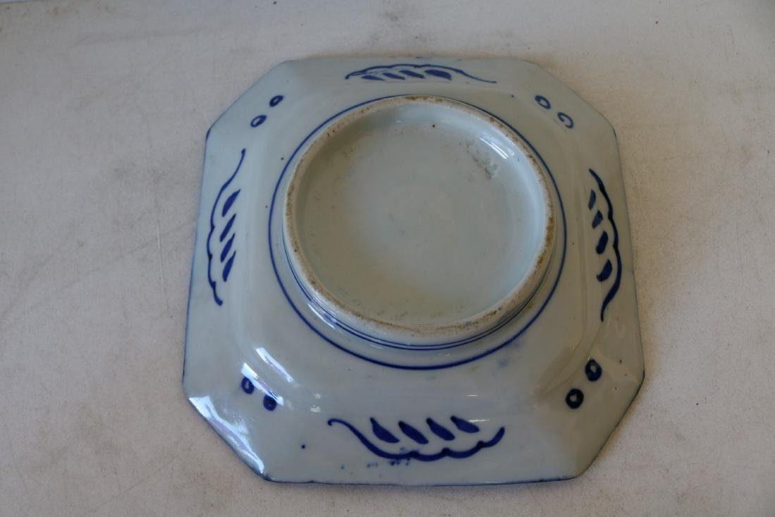 Asian Blue & White Porcelain Octagon Plate - 3