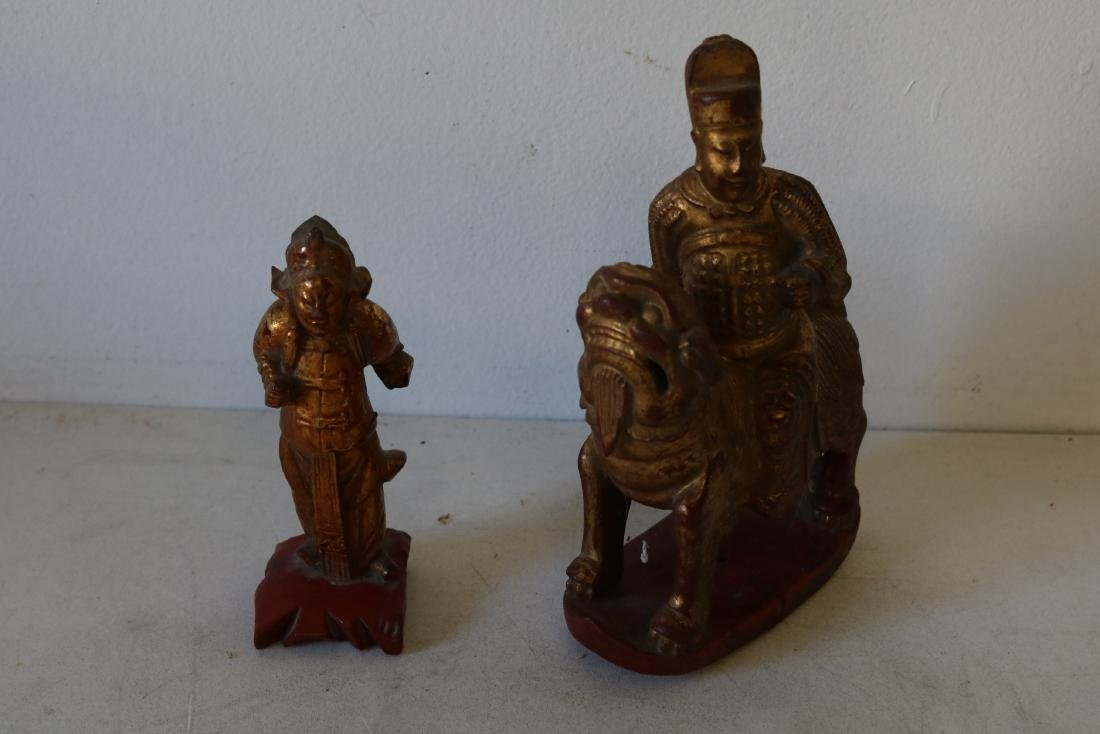 Pair Wood Carved Asian Figures, one riding Foo Dog