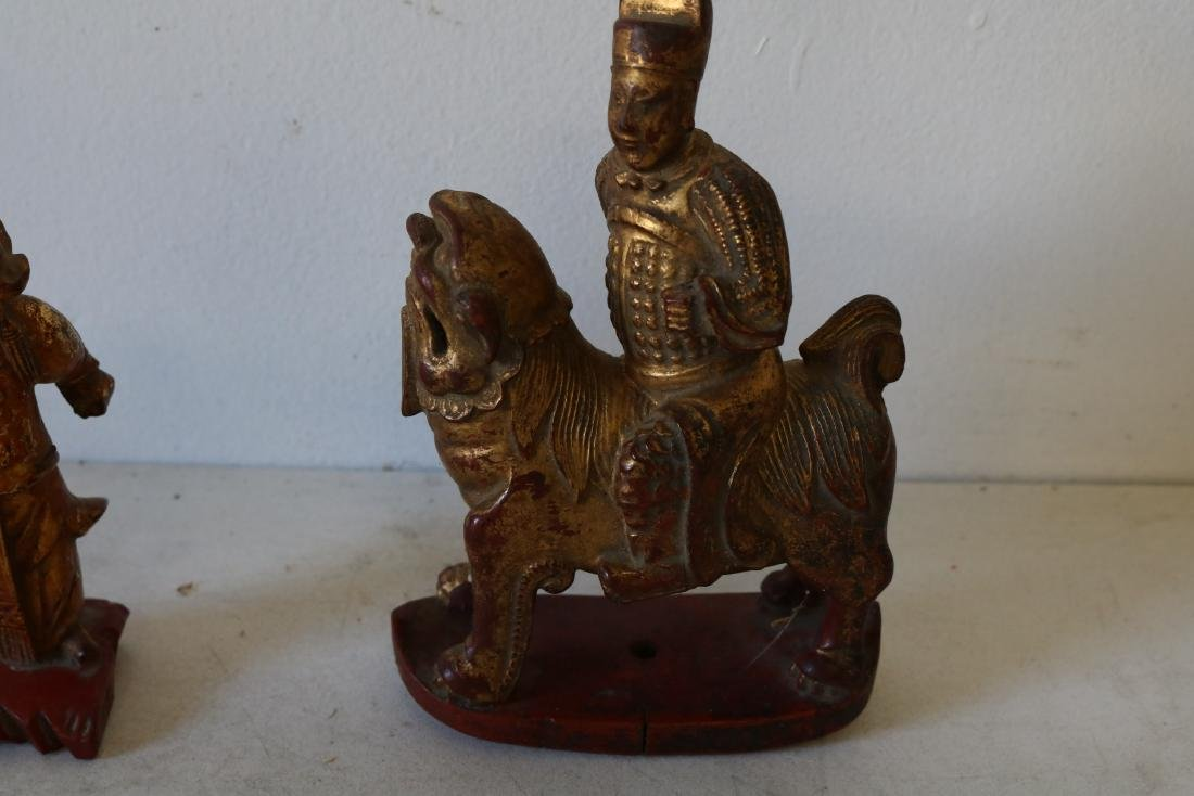 Pair Wood Carved Asian Figures, one riding Foo Dog - 2