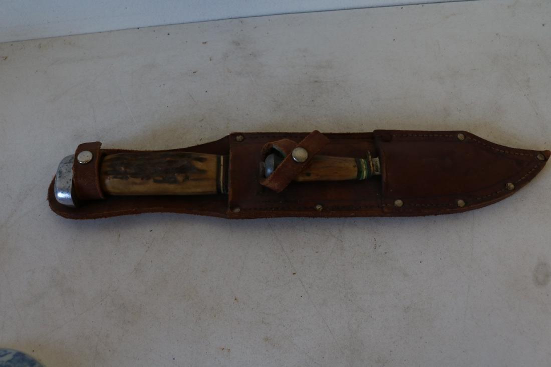 Antique Hunting Knife Set with Horn Handles, Solingen,