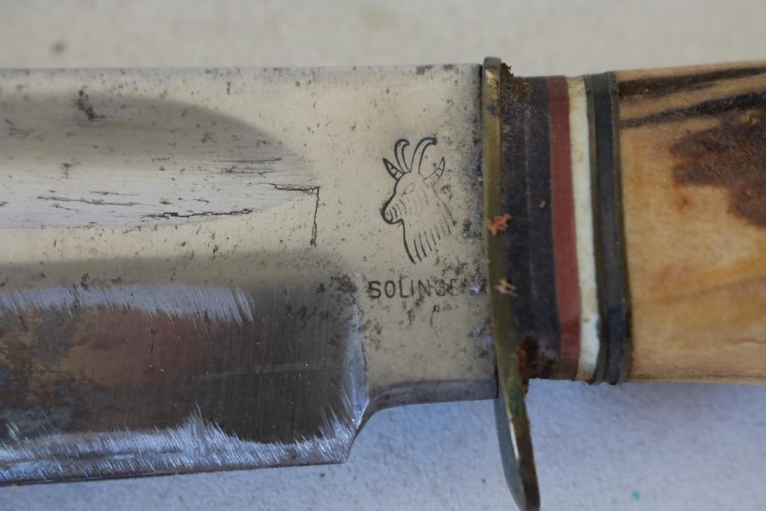 Antique Hunting Knife Set with Horn Handles, Solingen, - 3
