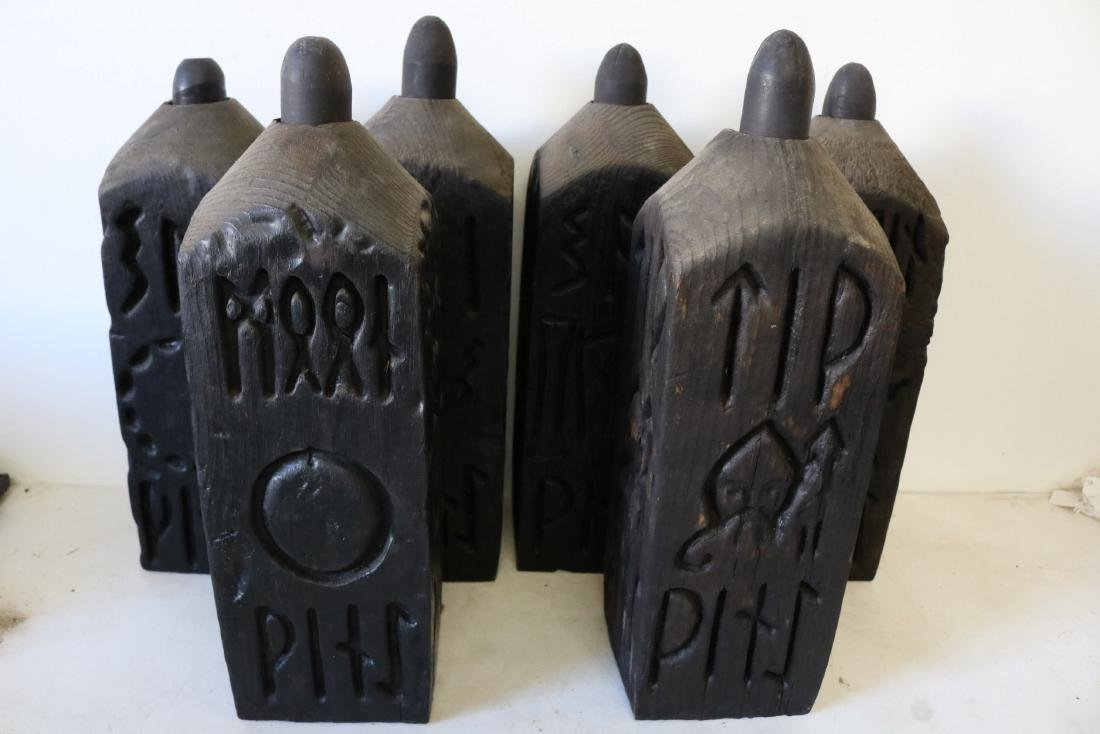 Hand Carved Mid-Century Wood Bottles