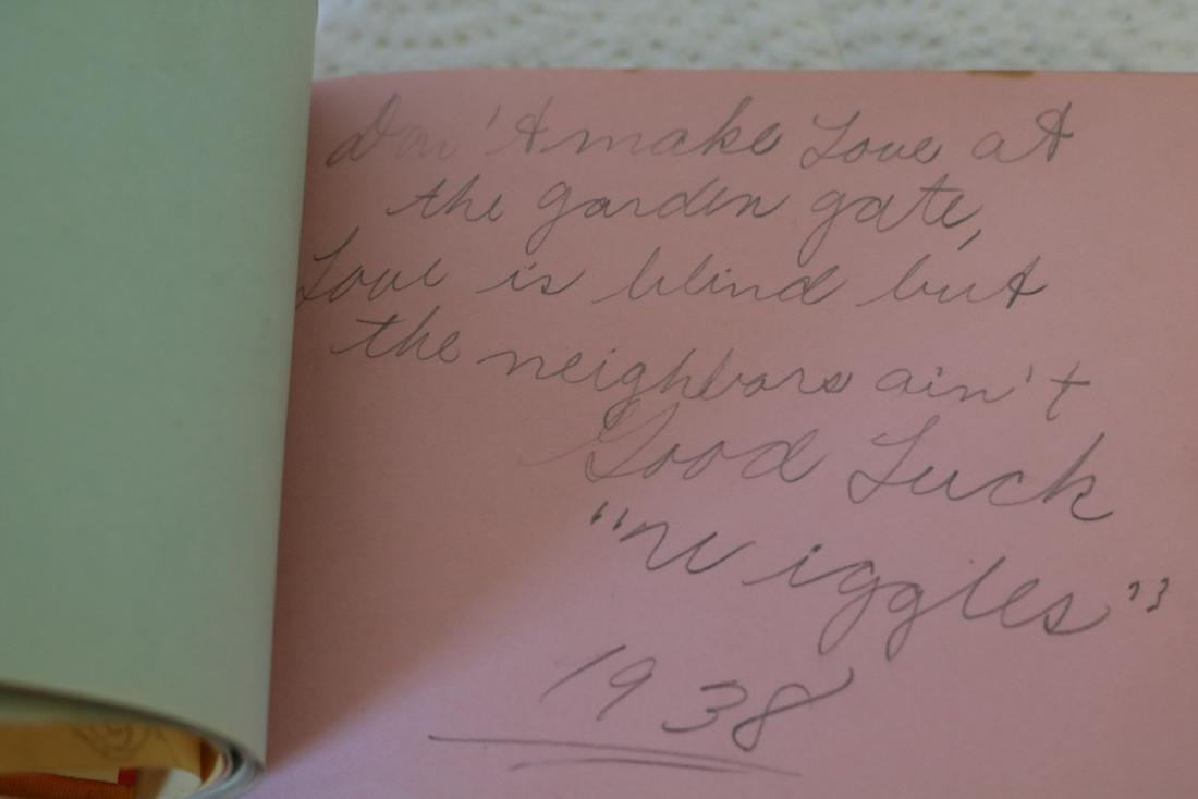 Silk Covered Autograph Book, 1938-41, with great - 5