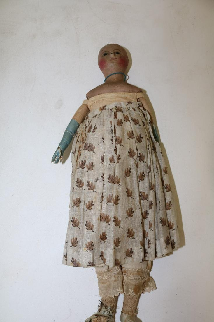 Early Primitive Straw Stuffed Doll with Paper Mache