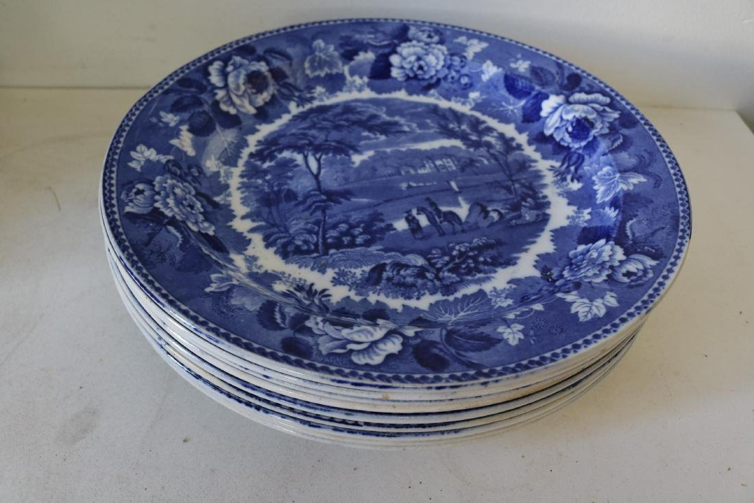 "Lot of 9 Large Wedgewood ""Landscape"" Flow Blue Plates"