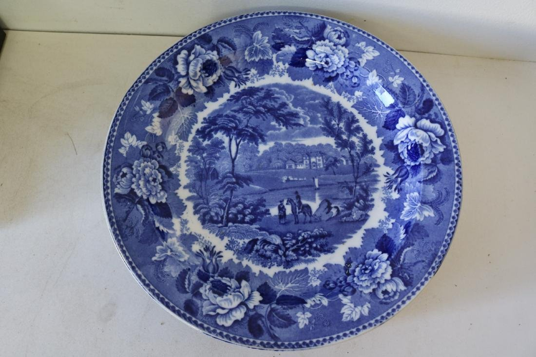 "Lot of 9 Large Wedgewood ""Landscape"" Flow Blue Plates - 2"