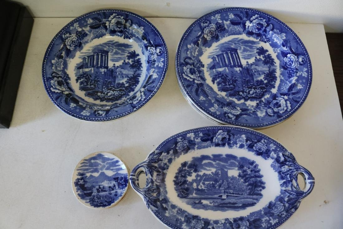 "Lot of Wedgewood Flow Blue ""Landscape"" pattern"