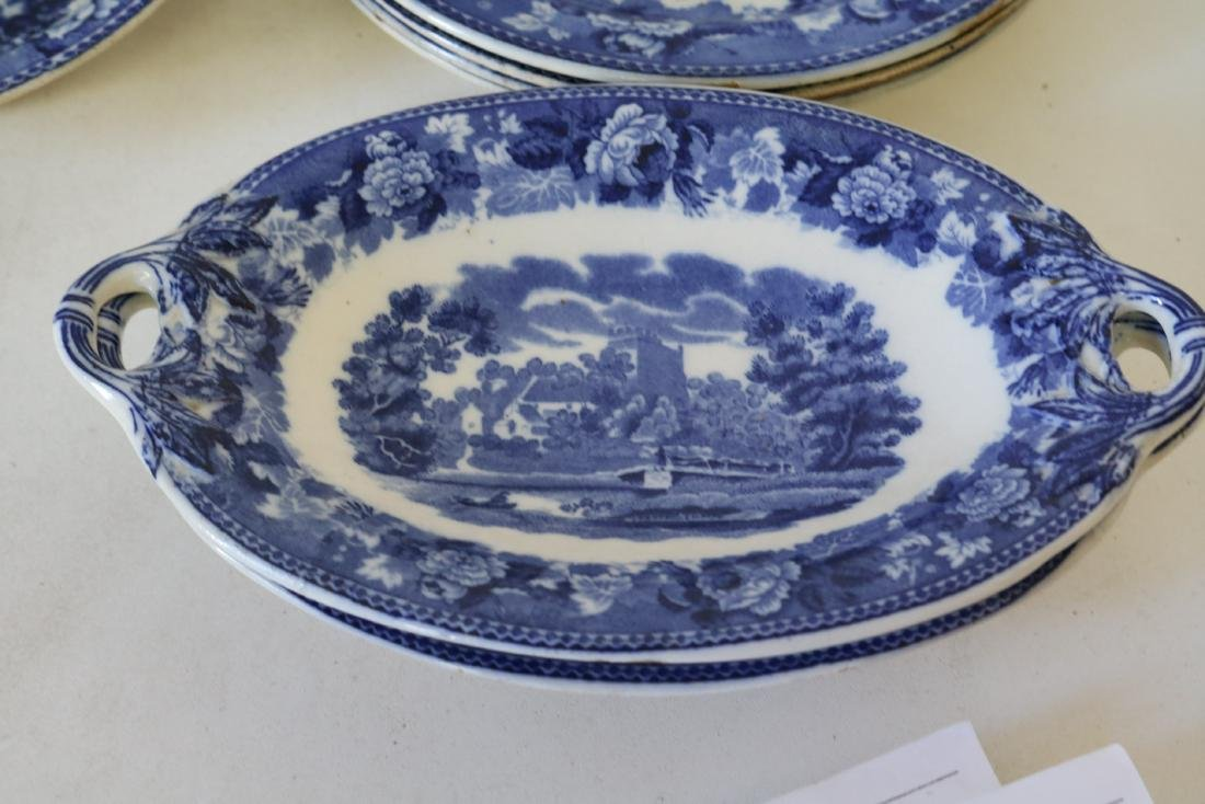 "Lot of Wedgewood Flow Blue ""Landscape"" pattern - 5"
