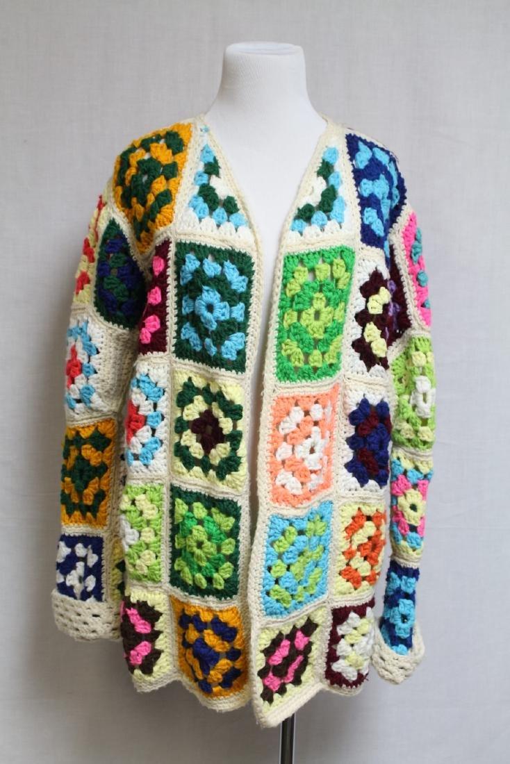 1970s Crotchet Granny Square Cardigan
