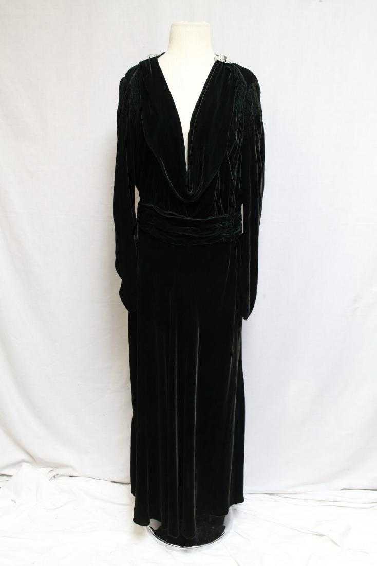 1930s Green Velvet Gown