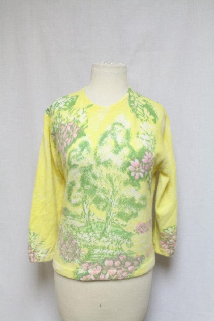 Vintage 1960s Yellow Floral Angora Sweater