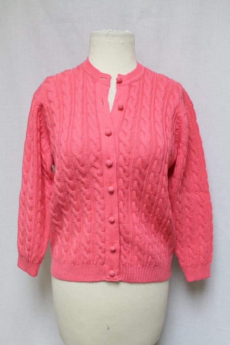 Vintage 1960's Hot Pink Wool Cardigan