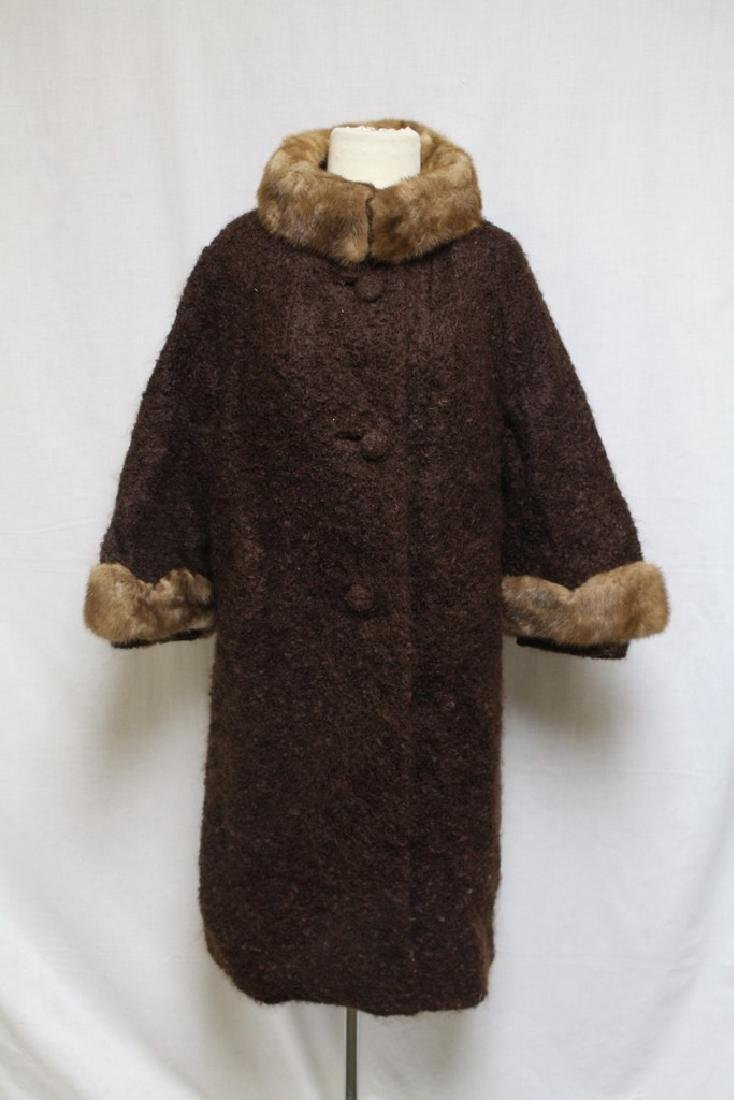 Vintage 1960s Brown Boucle Wool Coat